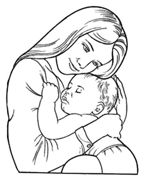 Раскраска Мама со своим малышом. Скачать .  Распечатать
