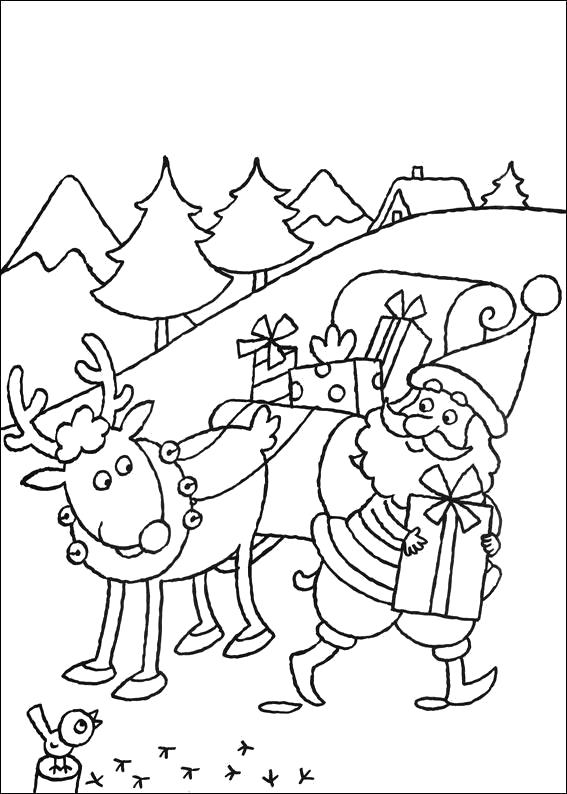 Раскраска Распечатать раскраску Новый Год. Дед мороз несет подарок. Скачать Дед мороз, Санки, Олени.  Распечатать Новый год