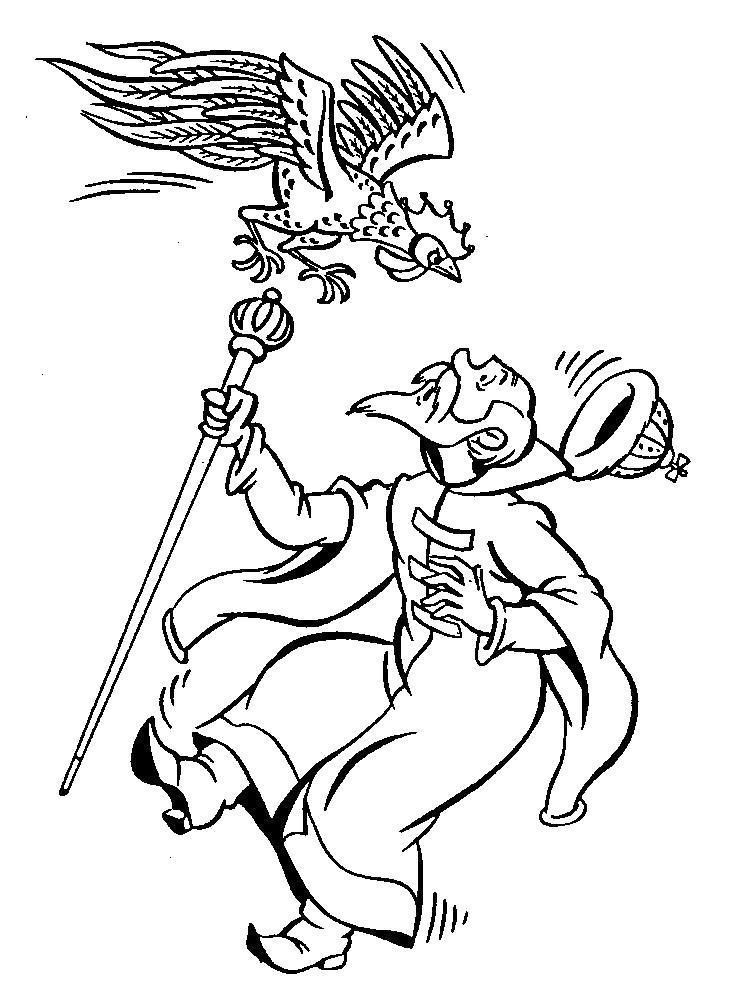 Раскраска Князь и петух. Скачать .  Распечатать