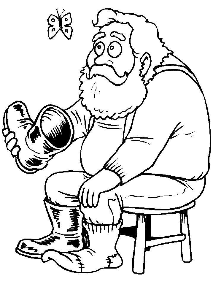 Раскраска Дед с валенком. Скачать .  Распечатать