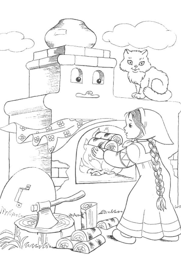 Раскраска  Сказка Гуси Лебеди. Скачать гуси лебеди.  Распечатать сказки