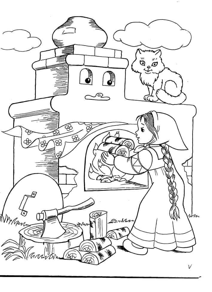 Раскраска   к сказке гуси лебеди девочка разжигает печь, сказка гуси-лебеди. Скачать гуси лебеди.  Распечатать сказки