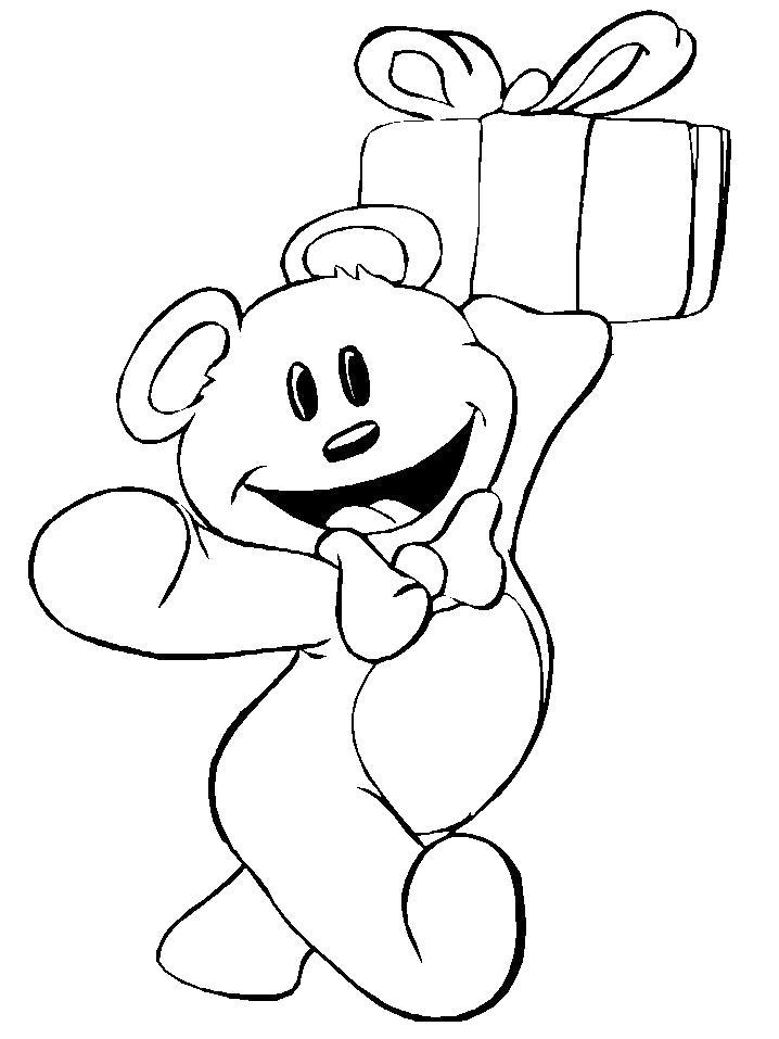 Раскраска  Счастливый мишка с подарком. Скачать медведь.  Распечатать медведь