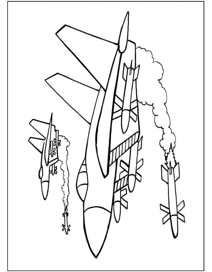 Раскраска Самолёт боевой. Скачать самолет.  Распечатать самолет