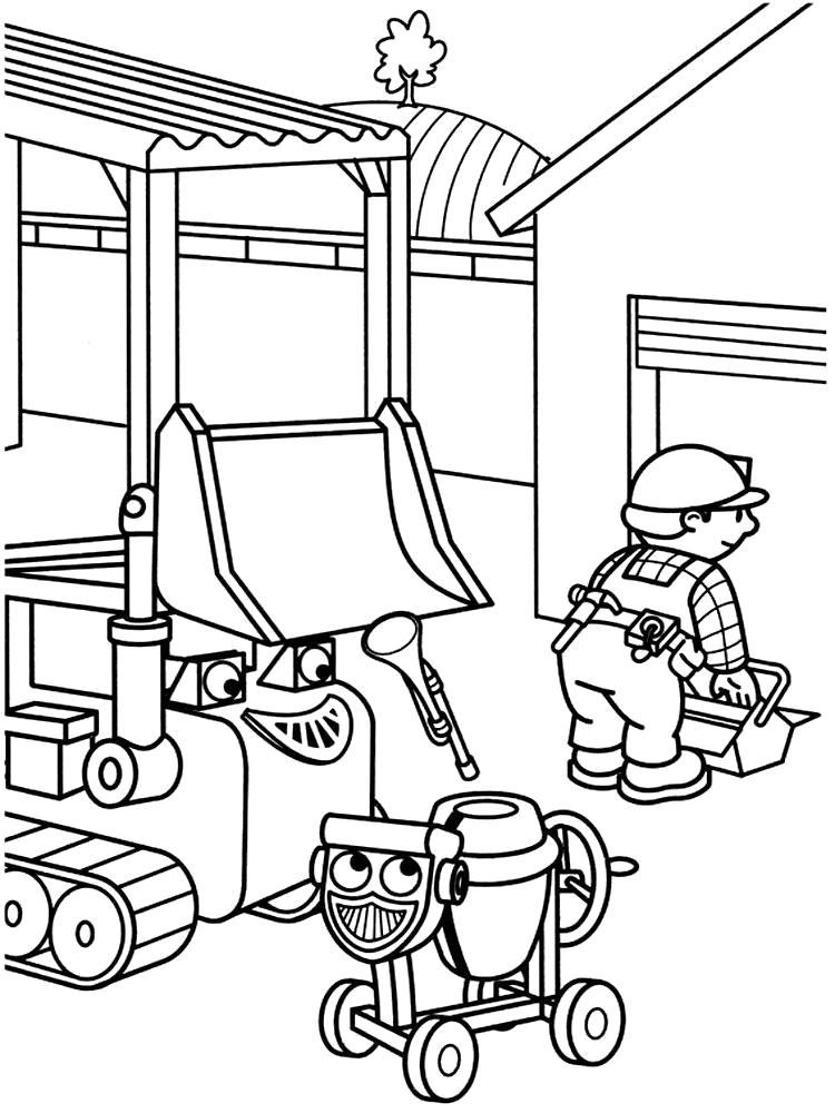 Раскраска строитель Боб и друзья. Скачать Строитель.  Распечатать Строитель