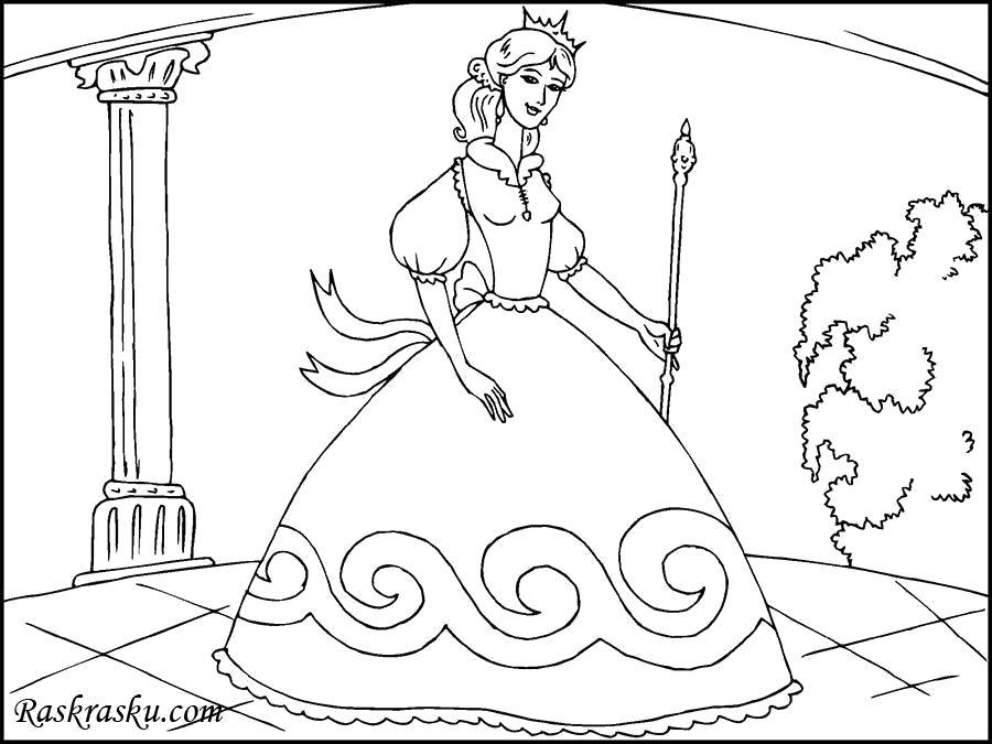 Раскраска Принцесса в красивом платье. Скачать принцесса.  Распечатать принцесса