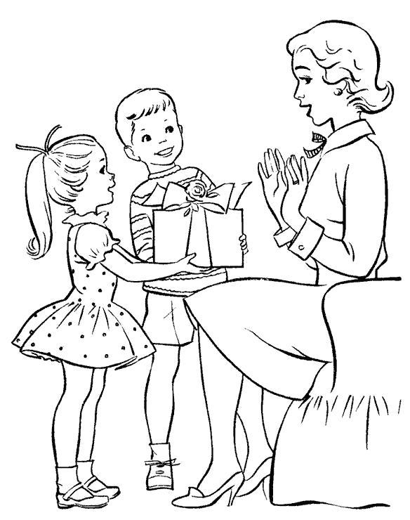 Раскраска подарок для мамы. Скачать День Матери.  Распечатать День Матери