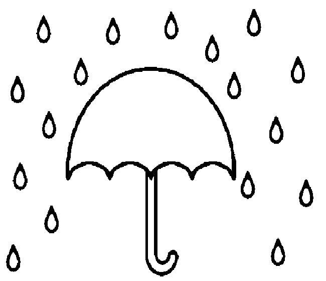 Раскраска Зонтик. Скачать дождь.  Распечатать дождь
