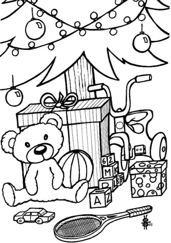 Раскраска новый год- мишка под ёлочкой. Скачать .  Распечатать