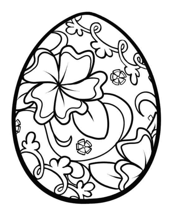 Раскраска Цветочный узор на яйце. Скачать .  Распечатать