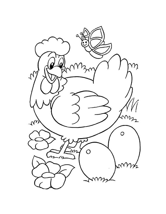 Раскраска  курица. Скачать Курица.  Распечатать Домашние животные