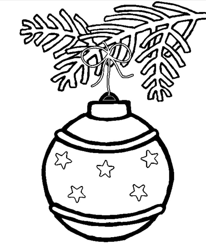 """Раскраска Новогодние  """"Елочные игрушки"""". Игрушка шарик висит на елочной ветке.. Скачать Елочные игрушки.  Распечатать Новый год"""