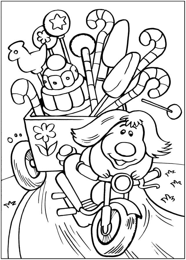 Раскраска Собачка на мотоцикле:  ... Конфеты . Скачать .  Распечатать