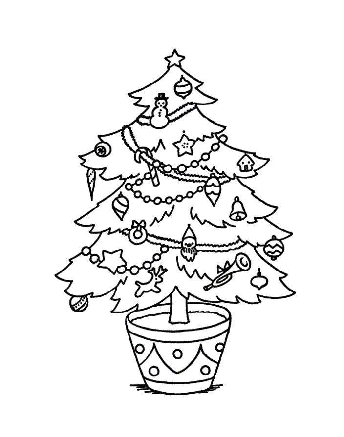 Раскраска  елочка новый год. Скачать Новый год.  Распечатать Раскраски по праздникам