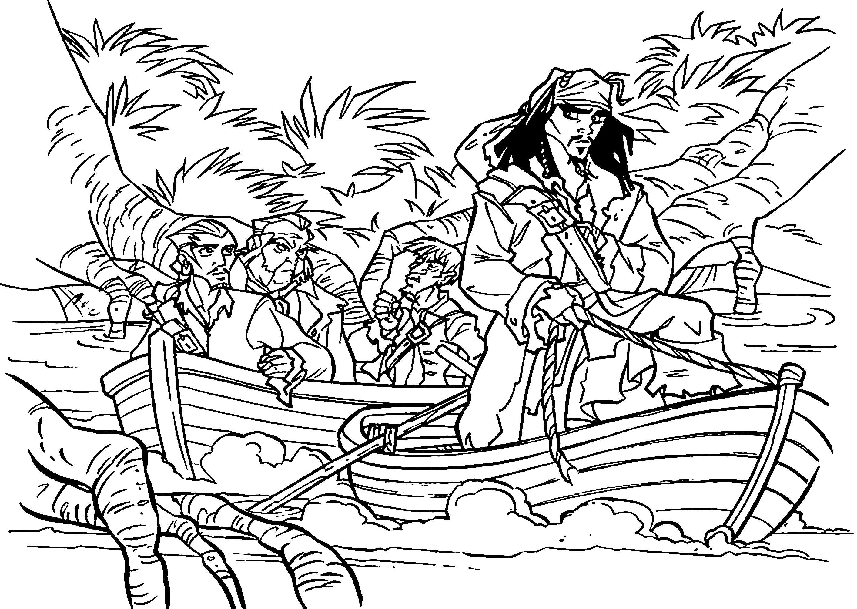Раскраска Джек на острове. Скачать Пират.  Распечатать Пират