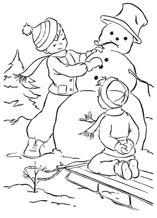Раскраска Лепка снеговика. Скачать Зимние.  Распечатать Зимние