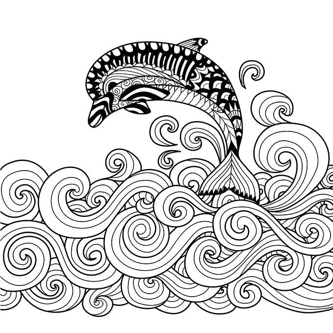 Раскраска Дельфинчик. Скачать узоры, природа.  Распечатать антистресс