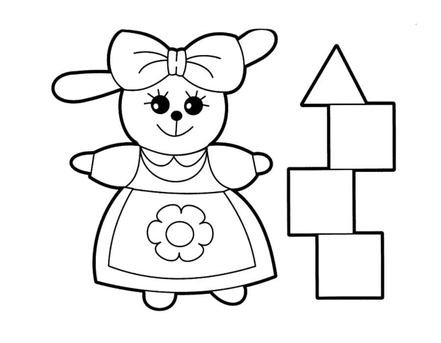 Раскраска  кукла играет в кубики. Скачать кукла.  Распечатать кукла