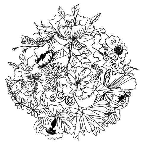 Раскраска  мандала луговые цветы. Скачать узоры, цветы.  Распечатать антистресс
