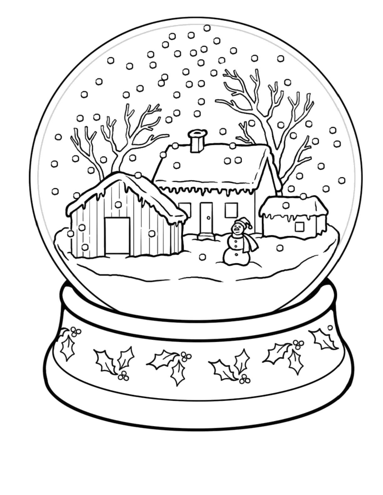 Название: Раскраска снежный шар. Категория: . Теги: .