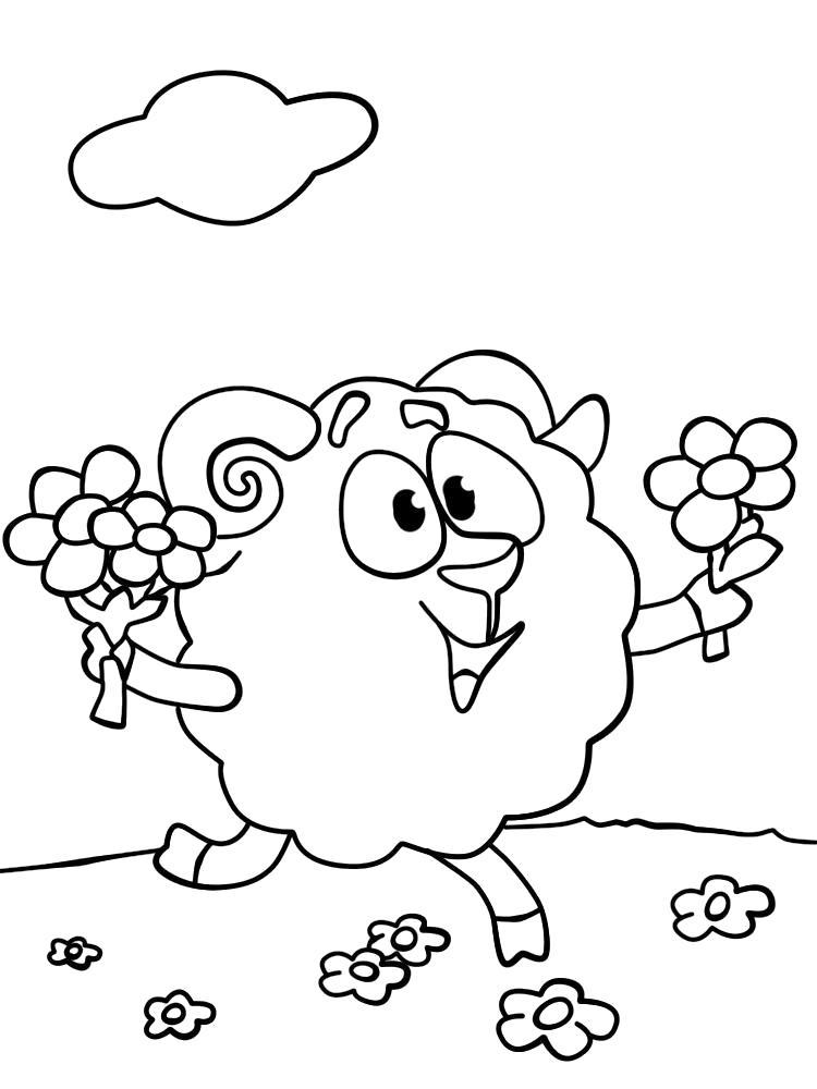 Раскраска Скачать и распечатать  смешарики бараш для детей бесплатно . Скачать Бараш.  Распечатать Смешарики