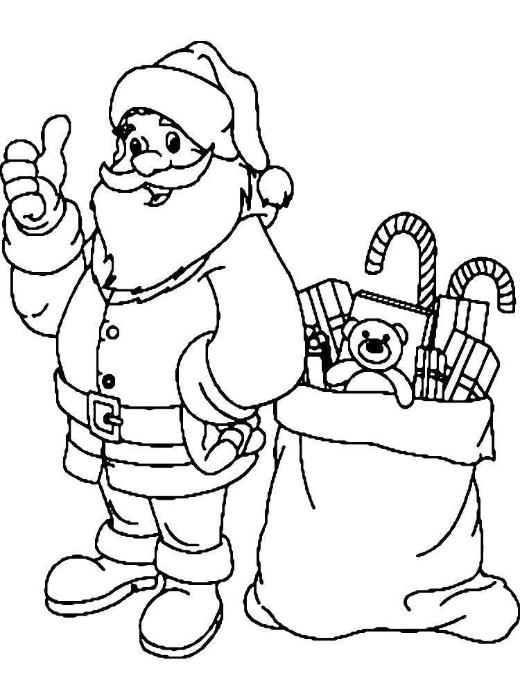 Раскраска Дед Мороз  детские для мальчиков и девочек. Скачать дед мороз с подарками.  Распечатать Дед мороз