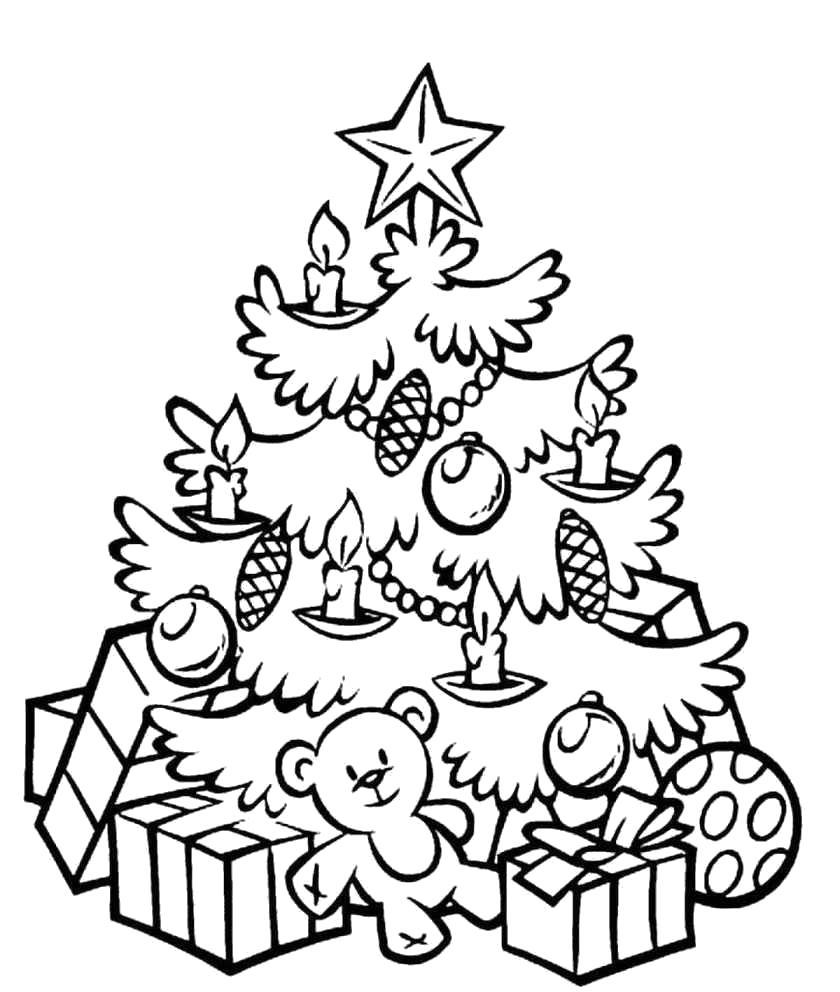 Раскраска Елка с подарками.  с новогодним настроением. . Скачать Елка, Подарки.  Распечатать Новый год