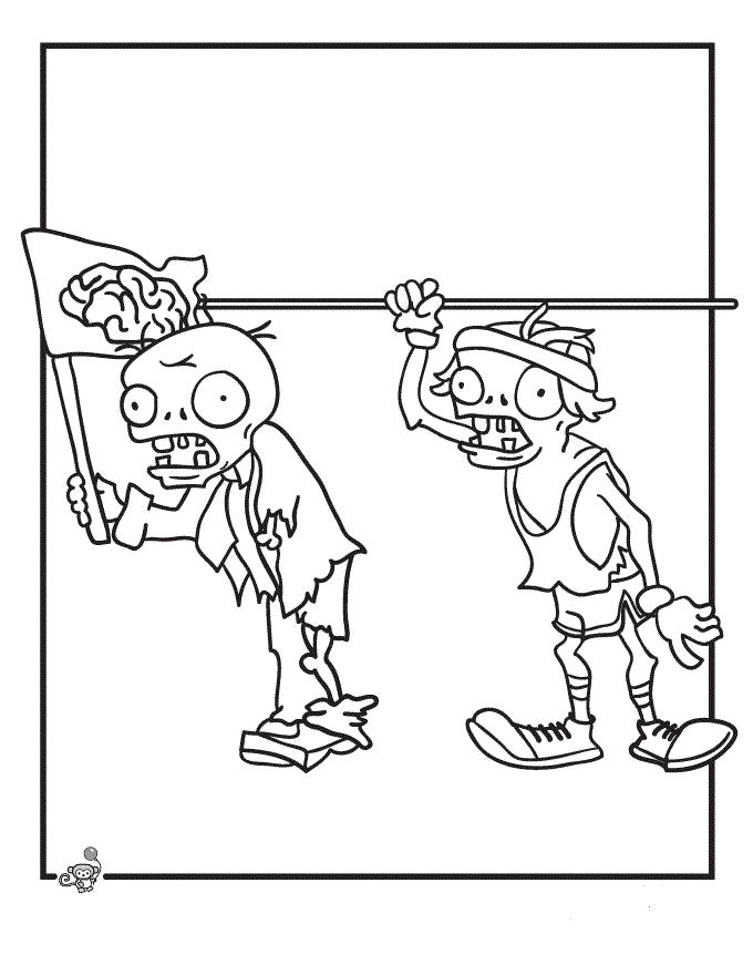 Раскраска Зомби идут. Зомби против растений
