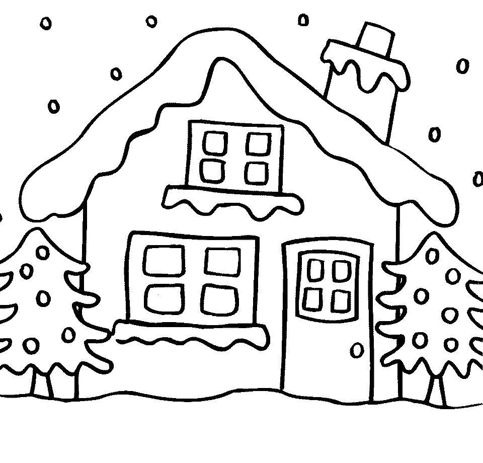 Раскраска  для детей - домик в лесу. Скачать Дом.  Распечатать Дом