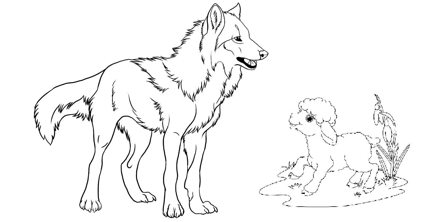 картинки как нарисовать волка и ягненка двери