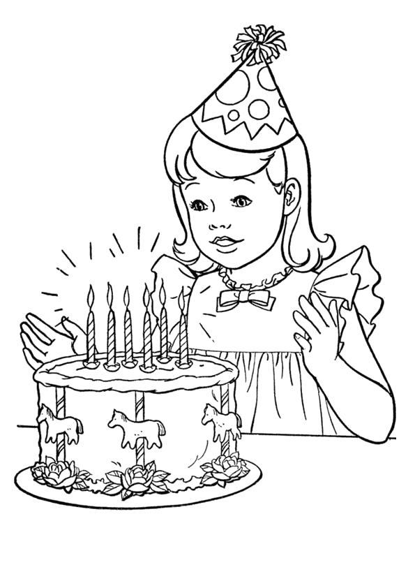 Раскраска День рождения, поздравление с днем рождения, девочка и торт. Скачать День рождения.  Распечатать День рождения