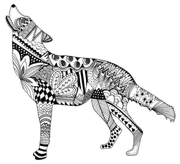 Раскраски узор, Раскраска Узорный волк антистресс.