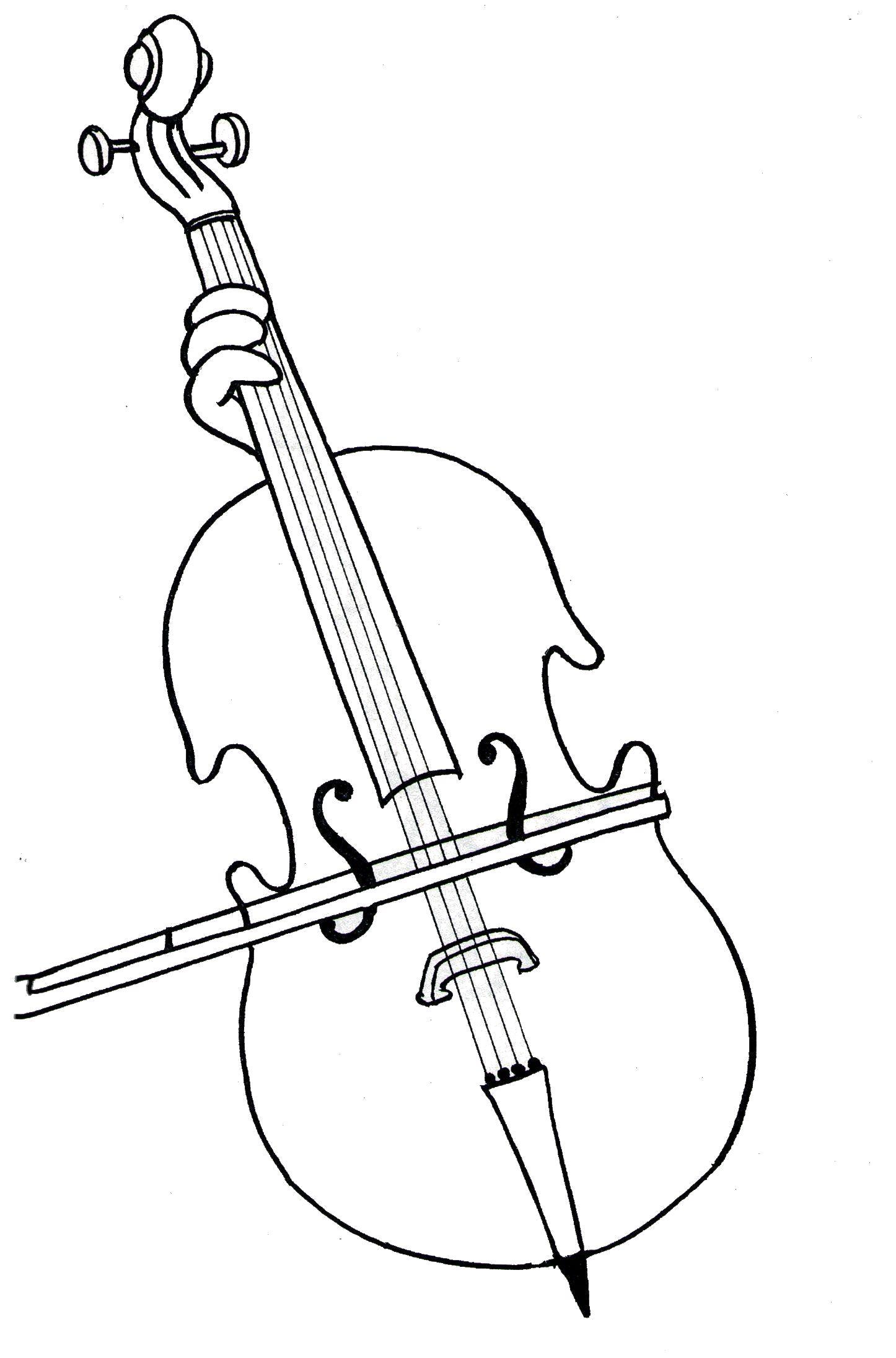 Раскраска Виолончель. Скачать Скрипка.  Распечатать Скрипка
