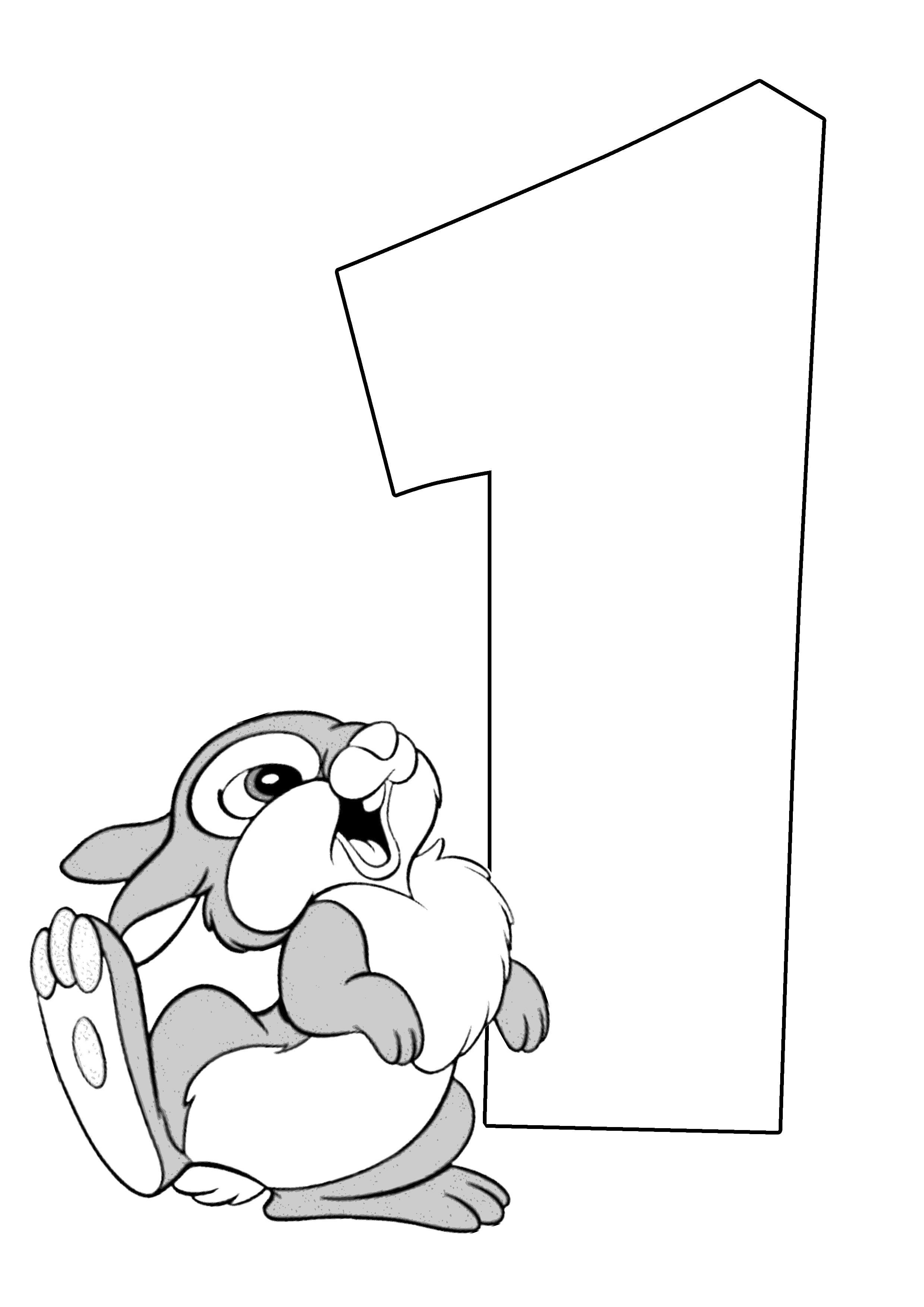 Раскраска Веселый счет зайка и цифра 1. с цифрами