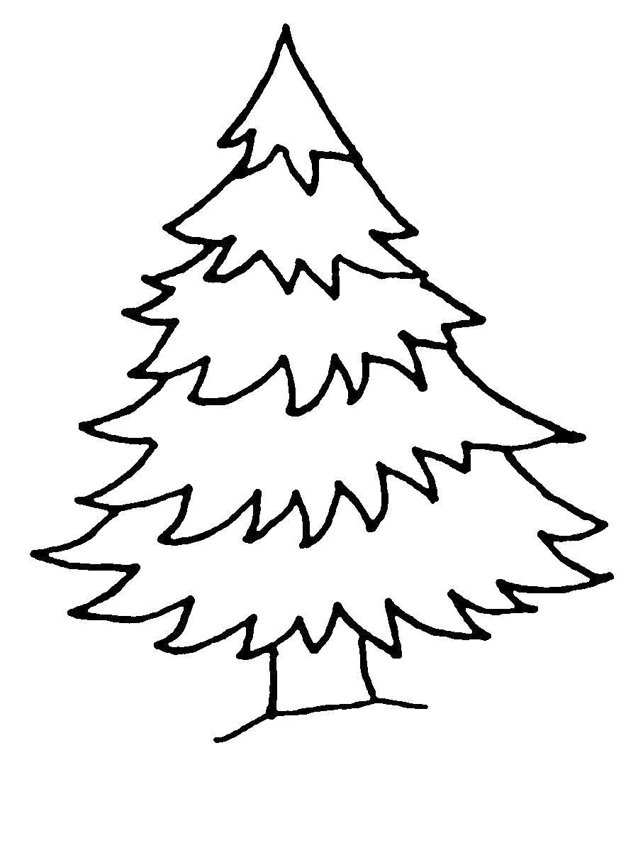 Раскраска  Новогодняя елка шаблон для вырезания из бумаги . Скачать Елка.  Распечатать Елка
