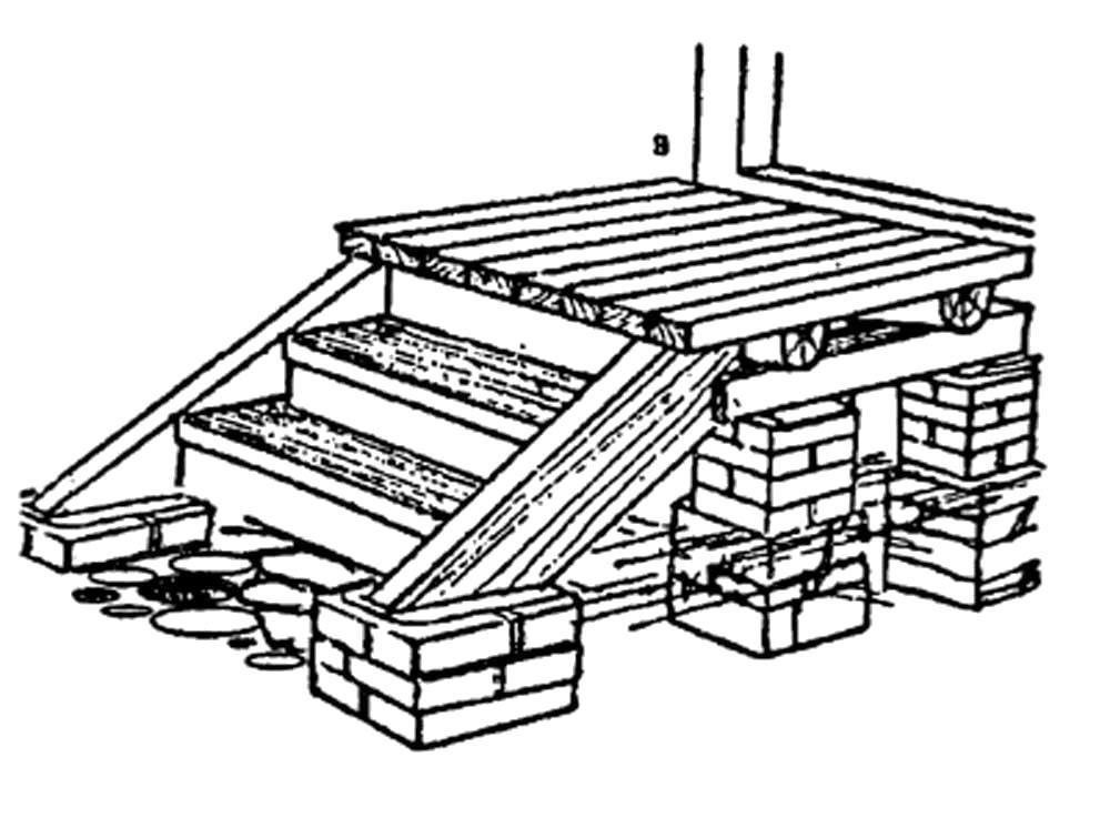 Раскраска Крыльцо на кирпичных столбиках с деревянной лестницей .