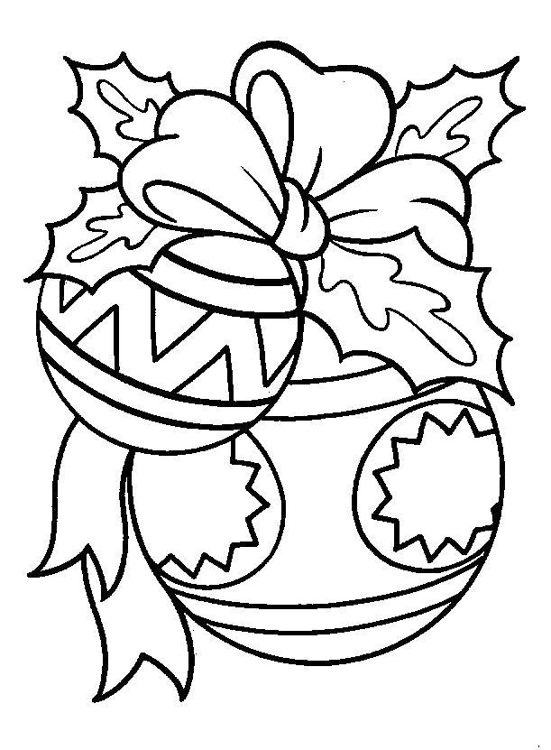 Раскраска Новогодние шары, шары с рисунками, бантик. новогодние