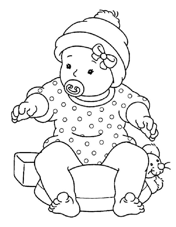 Раскраска  кукла пупс. Скачать кукла.  Распечатать кукла