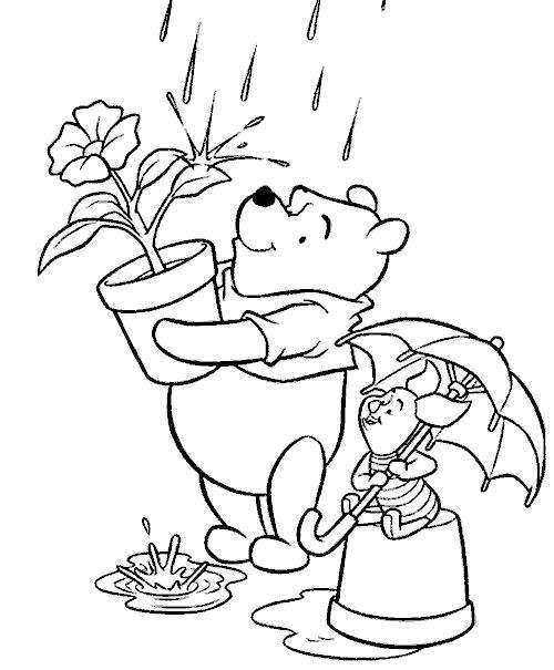 Раскраска Винни с цветочком. Винни Пух