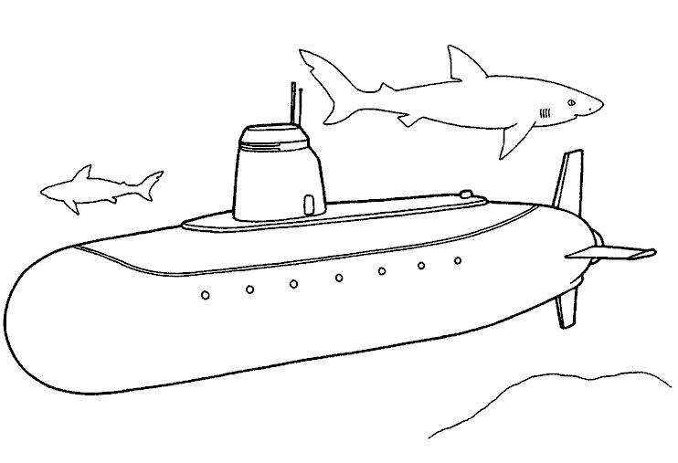 Раскраска Акулы вокруг. Скачать Подводная лодка.  Распечатать Подводная лодка