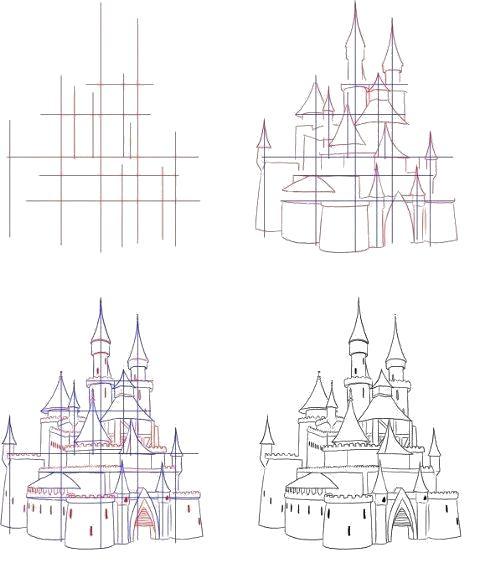 нарисовать замок поэтапно картинки быстрый