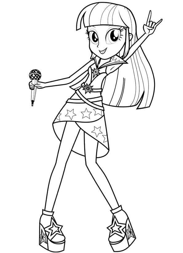 Раскраска Раскраска Твайлайт Спаркл девушка Эквестрии. прически