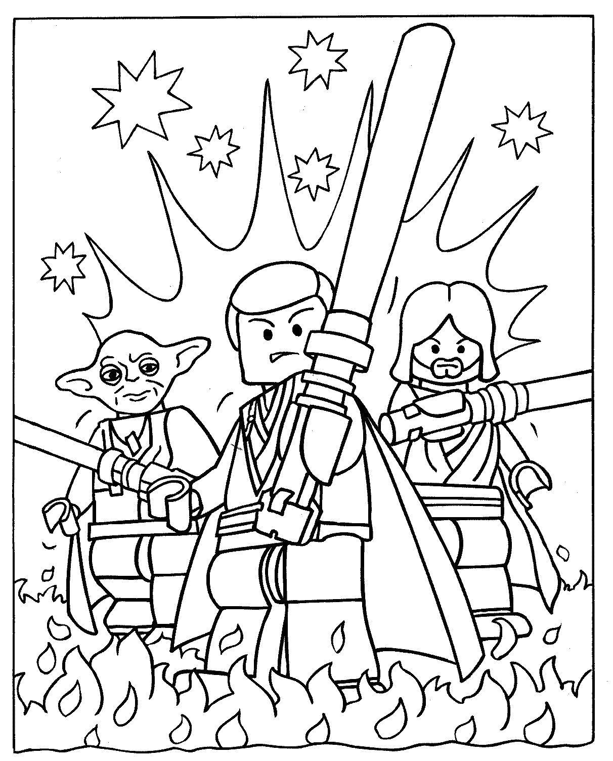 Раскраска Звёздные войны - Лего. Скачать .  Распечатать