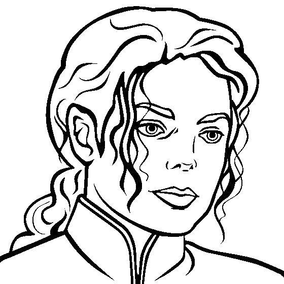 Раскраска Майкл Джексон. Скачать портрет.  Распечатать портрет