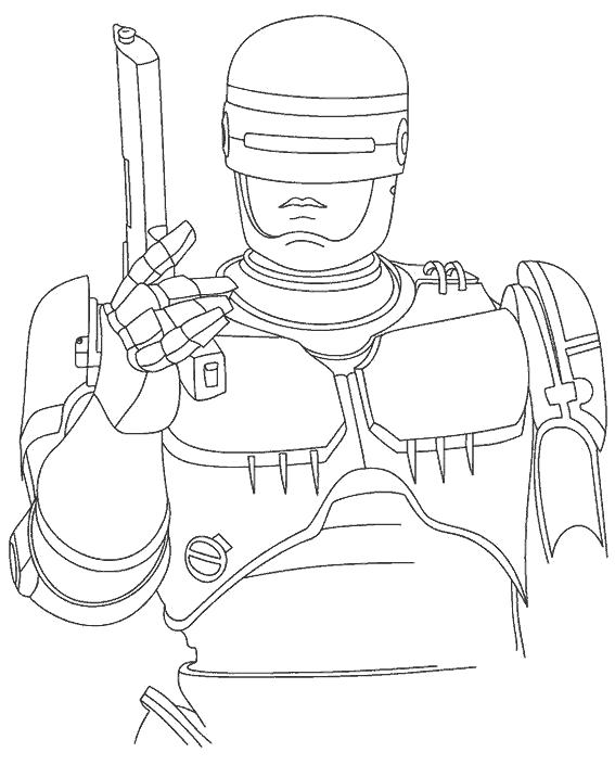 Раскраска Робокоп с оружием. Скачать Робокоп.  Распечатать Робокоп