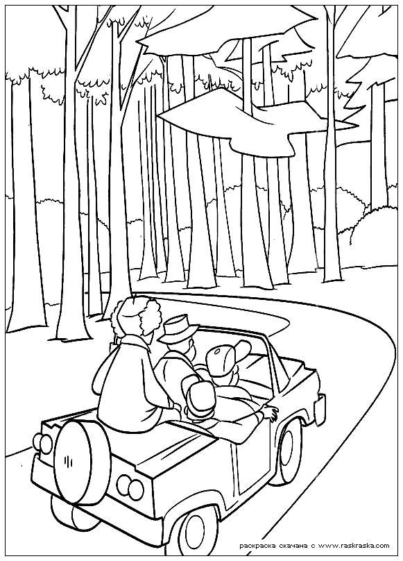 Раскраска  Сезон охоты.  Охотники едут в лес, начался сезон охоты,  из мультфильма. Скачать Сезон охоты.  Распечатать Сезон охоты