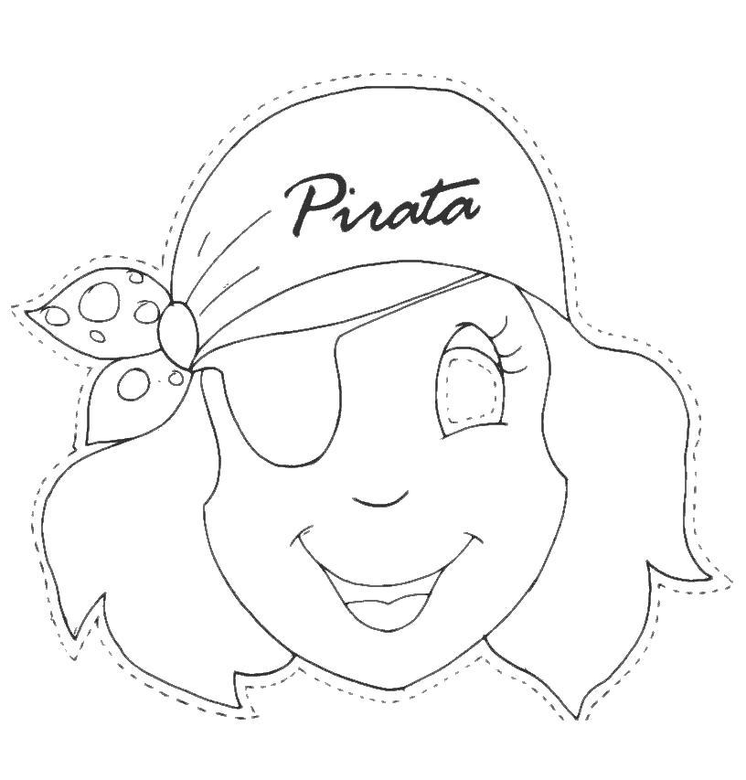 Раскраска Маска девочка пират. Скачать маски.  Распечатать маски