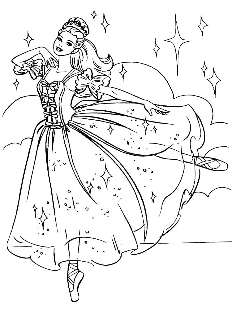 Раскраска Умные  Барби для самых маленьких балет. Скачать барби.  Распечатать барби