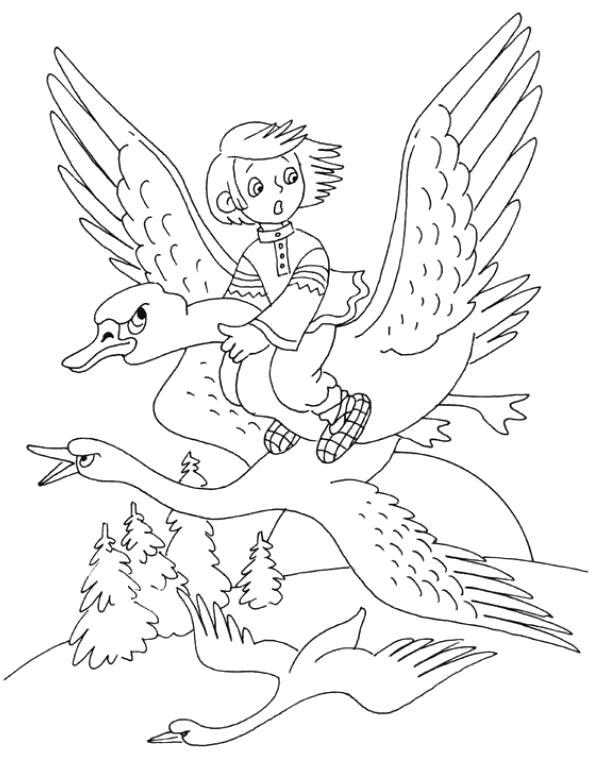 Раскраска Гуси лебеди. Скачать гуси лебеди.  Распечатать сказки