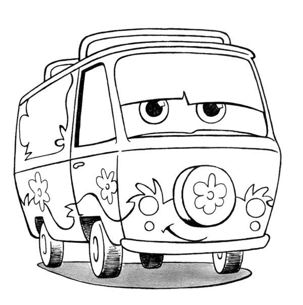 Раскраска Машина из мультфильма Скуби Ду. Скачать Скуби ду.  Распечатать Скуби ду